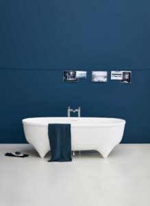Modern white freestanding bath from Clearwater